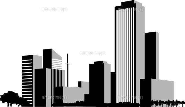 都会のビル群のシルエット60009000041の写真素材イラスト素材