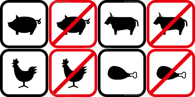 豚肉と牛肉と鶏肉のピクトグラム60009001110の写真素材イラスト素材