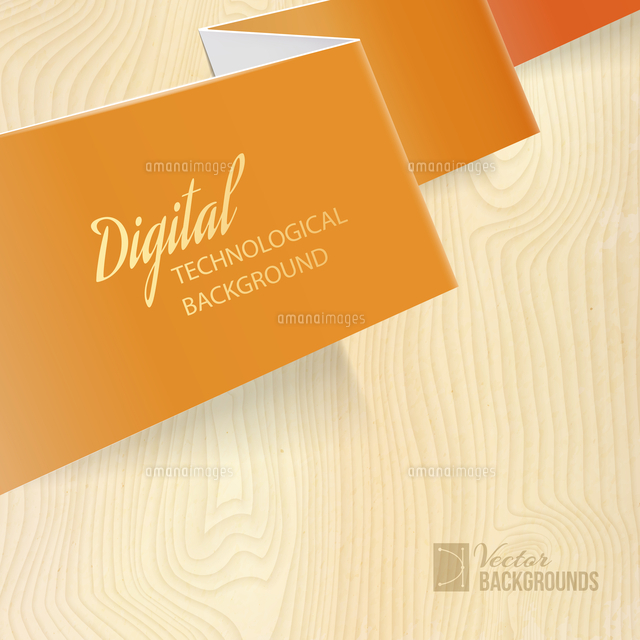 Orange paper over wooden background. Vector illustration.