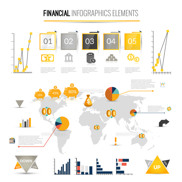Money finance business infographic with financial icons and world map on background vector illustrat