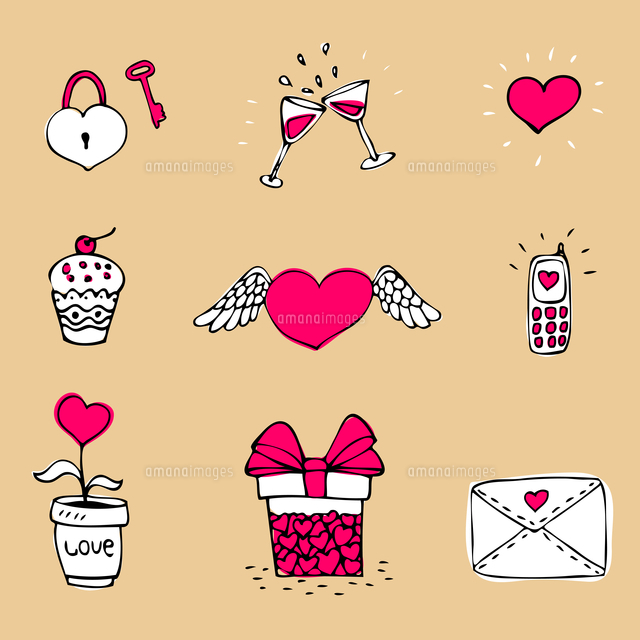 Doodle love icons set of heart and message vector illustration