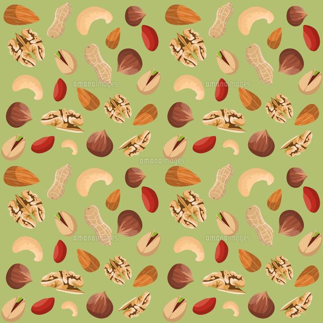 Nut Mix Seamless Pattern Of Dried Peanut Walnut Hazelnut Pistachio