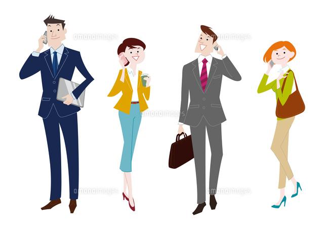 携帯電話で通話するビジネスマンとビジネスウーマン60017000018の写真