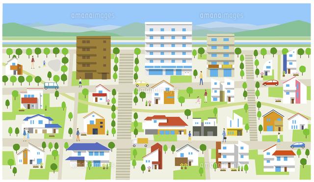 町住宅街山60025000003の写真素材イラスト素材アマナイメージズ