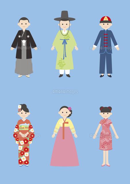 世界の民族衣装日本韓国中国60026000018の写真素材イラスト