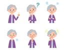 女性高齢者の表情6パターン