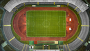 Aerial view of empty soccer field, Berlin, Brandenburg, Germany