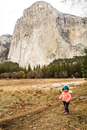 Caucasian baby girl walking in Yosemite National Park, California, United States