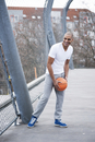 Portrait of Man Outdoors, Playing Basketball, Mannheim, Bade