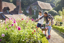 Family picking flowers in sunny garden
