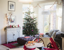 Festive, decorated Christmas tree and living room