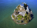 Aerial view of the prison island of Alcatraz in San Francisco Bay.
