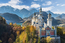 Neuschwanstein Castle in autumn, Alpsee behind, Schwangau
