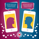 Couple virtual love talking using mobile phone messages sms mms vector illustration 60016027487| 写真素材・ストックフォト・画像・イラスト素材|アマナイメージズ