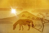 金屏風の富士山と馬 10131021520| 写真素材・ストックフォト・画像・イラスト素材|アマナイメージズ