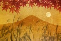 金屏風の富士山と紅葉と満月 10131021527| 写真素材・ストックフォト・画像・イラスト素材|アマナイメージズ