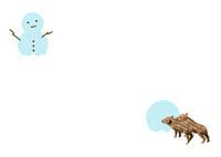 ウリボウと雪だるま 10132008859| 写真素材・ストックフォト・画像・イラスト素材|アマナイメージズ