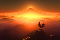 富士山の日の出を見るニワトリ 10185002187| 写真素材・ストックフォト・画像・イラスト素材|アマナイメージズ