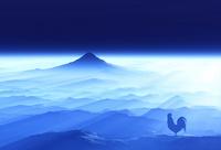 富士山の日の出を見るニワトリ 10185002188| 写真素材・ストックフォト・画像・イラスト素材|アマナイメージズ