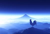 富士山の日の出を見るニワトリ 10185002189| 写真素材・ストックフォト・画像・イラスト素材|アマナイメージズ