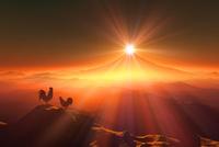 富士山の日の出とニワトリ 10185002209| 写真素材・ストックフォト・画像・イラスト素材|アマナイメージズ