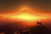 富士山の日の出と犬のシルエット 10185002448| 写真素材・ストックフォト・画像・イラスト素材|アマナイメージズ