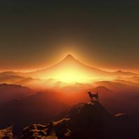 富士山の日の出と犬のシルエット 10185002454| 写真素材・ストックフォト・画像・イラスト素材|アマナイメージズ
