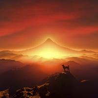 富士山の日の出と犬のシルエット 10185002456| 写真素材・ストックフォト・画像・イラスト素材|アマナイメージズ