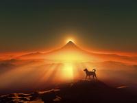 富士山の日の出と犬のシルエット 10185002540| 写真素材・ストックフォト・画像・イラスト素材|アマナイメージズ