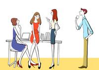 会社の休憩時間におしゃべりするOLと男性社員 10402000202| 写真素材・ストックフォト・画像・イラスト素材|アマナイメージズ