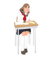 セーラー服を着て教室の机に座り頬杖をつく女子高校生 10402000237| 写真素材・ストックフォト・画像・イラスト素材|アマナイメージズ