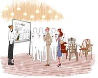 ホテルのレストランでソムリエのワイン講座を受ける男性と女性 10402000276| 写真素材・ストックフォト・画像・イラスト素材|アマナイメージズ