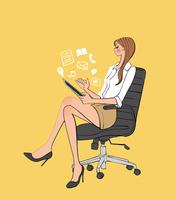椅子に座りタブレットを楽しむ女性 10402000401  写真素材・ストックフォト・画像・イラスト素材 アマナイメージズ