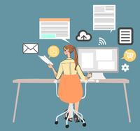 オフィスでデスクに座りパソコンを使って仕事をする女性 10402000402| 写真素材・ストックフォト・画像・イラスト素材|アマナイメージズ