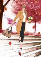 コートを着て花束を持ち階段を下りる女性 10402000503| 写真素材・ストックフォト・画像・イラスト素材|アマナイメージズ