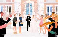 結婚披露宴のあとみんなに祝福される新郎新婦 10402000535  写真素材・ストックフォト・画像・イラスト素材 アマナイメージズ