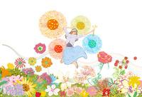 春の高原でたくさんの花に囲まれてジャンプする女性 10402000539| 写真素材・ストックフォト・画像・イラスト素材|アマナイメージズ