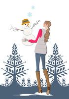 雪だるまを作る女性 10402000574| 写真素材・ストックフォト・画像・イラスト素材|アマナイメージズ