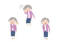 肩こり、目眩、咳をするおばあさん 10423000094| 写真素材・ストックフォト・画像・イラスト素材|アマナイメージズ