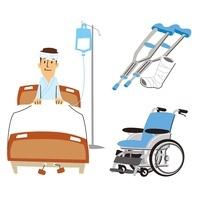 男性入院(ベッド)、ギブスと松葉杖、車いす 10423000387| 写真素材・ストックフォト・画像・イラスト素材|アマナイメージズ