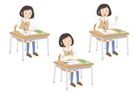 授業を受ける女子学生3パターン 10423000407| 写真素材・ストックフォト・画像・イラスト素材|アマナイメージズ