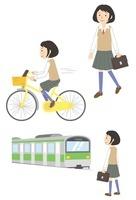 通学する女子学生(徒歩・自転車・電車) 10423000412| 写真素材・ストックフォト・画像・イラスト素材|アマナイメージズ