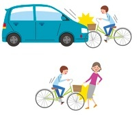 車と自転車の事故、自転と人の事故 10423000430| 写真素材・ストックフォト・画像・イラスト素材|アマナイメージズ