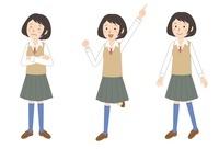 女子学生ポーズ3パターン 10423000439| 写真素材・ストックフォト・画像・イラスト素材|アマナイメージズ