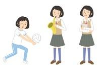 運動をする・楽器を吹く・ノートを持つ女子学生 10423000440| 写真素材・ストックフォト・画像・イラスト素材|アマナイメージズ