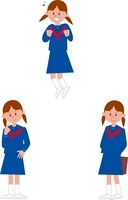 女子中学生ポーズ3パターン 10423000453| 写真素材・ストックフォト・画像・イラスト素材|アマナイメージズ