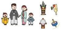 お正月の家族、門松、羽子板、鏡餅、コマ 10423000632| 写真素材・ストックフォト・画像・イラスト素材|アマナイメージズ