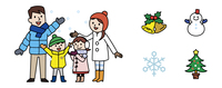 家族と冬アイコン 10423000691| 写真素材・ストックフォト・画像・イラスト素材|アマナイメージズ
