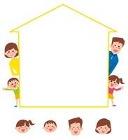 家の形のフレームから顔を出す家族・アイコン 10423000736| 写真素材・ストックフォト・画像・イラスト素材|アマナイメージズ