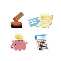 金融(貯金通帳、印鑑、貯金箱、電卓) 10423001027| 写真素材・ストックフォト・画像・イラスト素材|アマナイメージズ